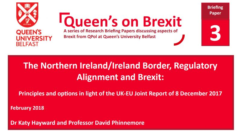 The Northern Ireland/Ireland Border, Regulatory Alignment and Brexit