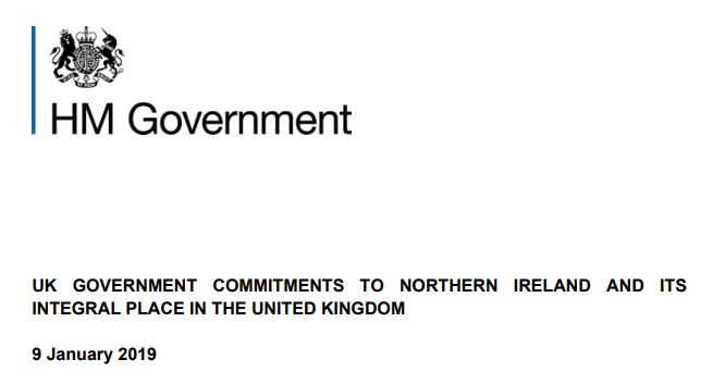 UK Government Commitments to NI and its Integral Place in the UK